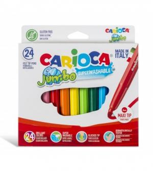 Μαρκαδόροι 24 χρωμ. χοντρή μύτη 6mm. Carioca jumbo Superwashable