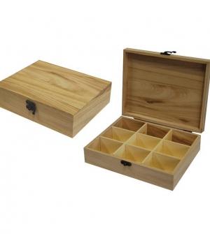 Κουτί ξύλινο με 9 θήκες 23.5x19x6.5εκ.