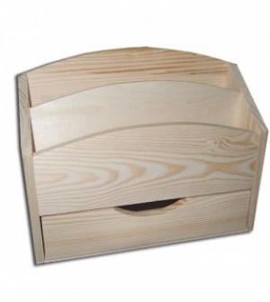 Ξύλινο organizer με συρτάρι και 2 θήκες 25x10x20