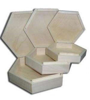 Ξύλινο κουτί πολύγωνο 3τεμ.