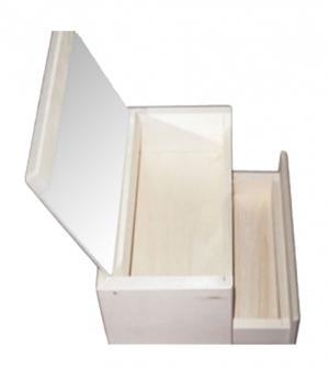 Ξύλινη μπιζουτιέρα καθρέπτης με συρτάρι 14.5x18x10