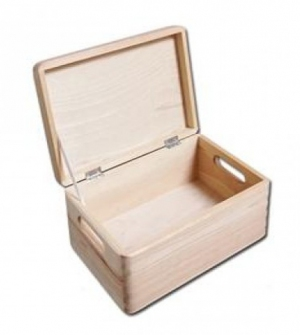 Ξύλινο κουτί με χερούλια 30x20x14cm