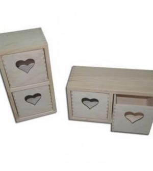 Ξύλινο κουτί συρτάρι καρδιά 23,5x10,5x12,5